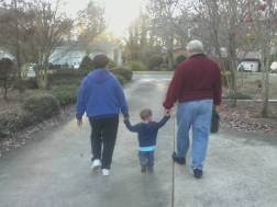demanding ALL the hands on an evening walk with the grandparents